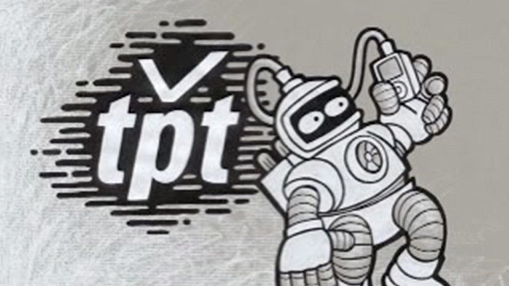 Old TPT logo with space person cartoon
