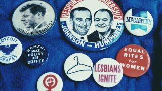 Political buttons from the 1960s