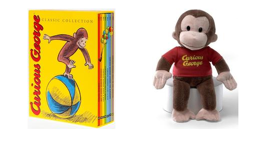 curious george books and curious george plush