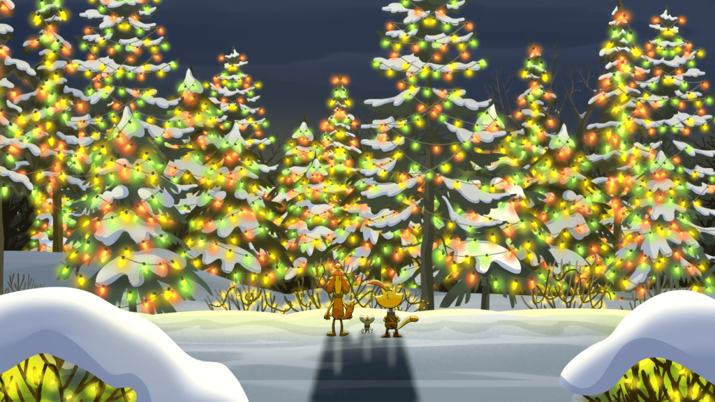 Nature cat in front in pine trees with holiday lights