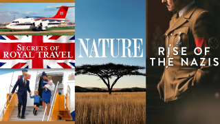 three tv posters for secrets of royal travel, nature and rise of the nazis